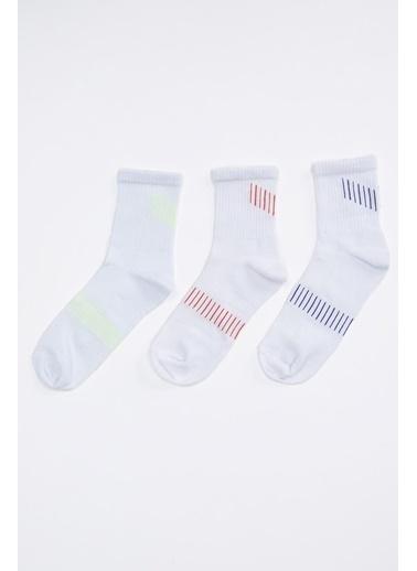 Defacto –Fit Desenli Soket Çorap 3'lü Beyaz